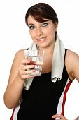 Young Sporty Woman With A Glass Of Plain Water