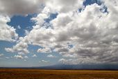 image of kilimanjaro  - Clouds over the savannah with Mt Kilimanjaro in the distance - JPG