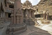 image of ellora  - Ancient Jain Temple (Indra Sabha) carved out of solid rock. Cave number 32 Ellora Caves near Aurangabad India. 10th - 12th Century AD