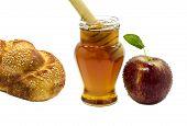 Honey apple  and challah are symbols of Jewish New Year - rosh hashanah
