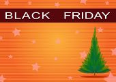 Black Friday Banner and Christmas Tree on Orange Background