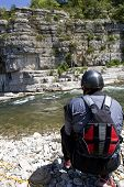 Kayak Paddlers Practicing River Rescues