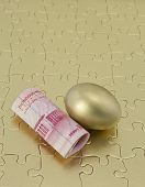 Gold Puzzle With Chinese Money And Nest Egg
