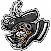 stock photo of raider  - Graphic Vector Sports lllustration of a Snarling American Football Raider Pirate Mascot with Hat on Football Helmet - JPG