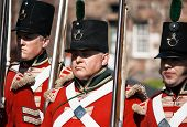 Redcoat soldiers standing to attention
