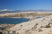 Panorama of Pag city, Pag island, Croatia