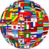 foto of world-globe  - globe planet made up of flags from all over the world - JPG