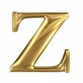 Golden letter z lowercase high quality 3d render isolated on white