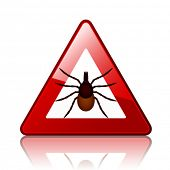 foto of ixodes  - vector Ixodes ricinus tick road warning sign - JPG