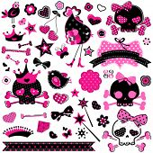 large set of wild girlish cute skulls and other elements