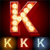 Vector illustration of realistic old lamp alphabet for light board. Red Gold and Silver options. Letter K
