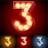 Vector illustration of realistic old lamp alphabet for light board. Red Gold and Silver options. Number 3
