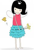stock photo of tinkerbell  - Illustration of a cute little fairy and flower - JPG