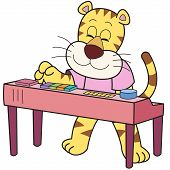 stock photo of organist  - Cartoon tiger playing an electronic organ - JPG