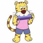Cartoon Tiger Mundharmonika spielt