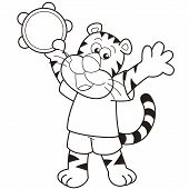 Cartoon Tiger Playing A Tambourine