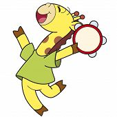 Cartoon Giraffe Playing A Tambourine
