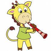 picture of clarinet  - Cartoon giraffe playing a clarinet - JPG