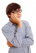 Portrait of tired college student in checkered shirt and black glasses. Isolated on white background, mask included