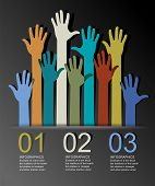 Abstract infographics with numbered elements and  colorful raised hands. This work - eps10 vector