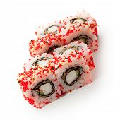 Japanese Cuisine - Sushi Roll with Deep Fried Crab Meat and Cucumber insisde. Sesame and Tobiko outs