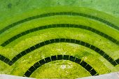 picture of stagnation  - Back yard swimming pool behind modern single family home at pool opening with green stagnant algae filled water before cleaning - JPG