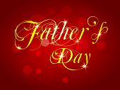 Golden text Fathers Day on red background.