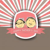 Vintage Happy Fathers Day background with smiling face of a father and son.