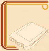 stock photo of 8-track  - Vector illustration of a retro 70 border and an 8 - JPG