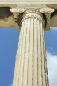 One Of The Columns At The Acropolis In Athens