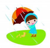 a little girl and duck under umbrella