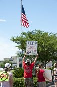 PENSACOLA, FL - 25 MAY: Protesters rally in Pensacola, FL on May 25, 2013 in support of the worldwid
