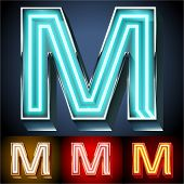 Vector illustration of realistic neon tube alphabet for light board. Gold and Silver and Red options. Letter M
