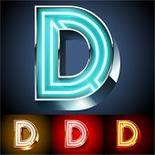 pic of letter d  - Vector illustration of realistic neon tube alphabet for light board - JPG