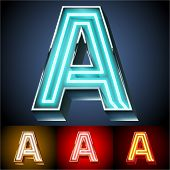 Vector illustration of realistic neon tube alphabet for light board. Gold and Silver and Red options. Letter A