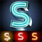 Vector illustration of realistic neon tube alphabet for light board. Gold and Silver and Red options. Letter S