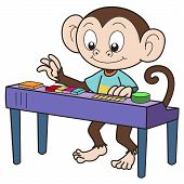 image of organist  - Cartoon monkey playing an electronic organ - JPG