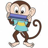 Cartoon Monkey spielen einer Mundharmonika