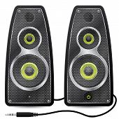 Stereo Speaker Set With Metallic Mesh