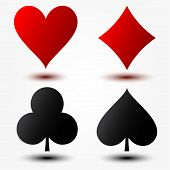 Playing Cards Suits. Vector Illustration