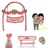 Wedding set of cute hand drawn illustration