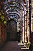 stock photo of fountain grass  - Interior of Ancient Gothic style Monastery and its ruins - JPG
