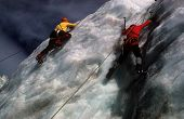 Ice Climbers On Icefall Below Mt Baker Volcano