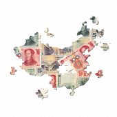 Постер, плакат: Китайский Юань карта головоломки