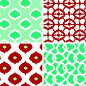 Set of green and red ikat geometric seamless patterns backgrounds