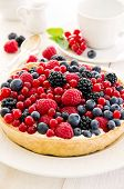 stock photo of tarts  - Tarte with different berries - JPG