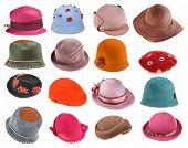 Set Of Felt Ladies Hats