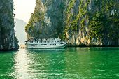 Tourist boat on Halong bay