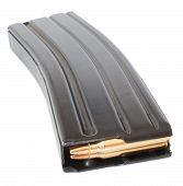 picture of ar-15  - Black metal high capacity magazine for a semi automatic rifle - JPG