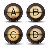 image of outdated  - Vintage reversible typewriter letters ABCD on white - JPG